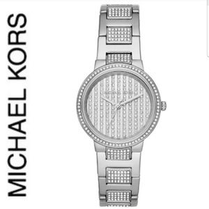 NWT authentic dazzling MK gabbi silver tone watch